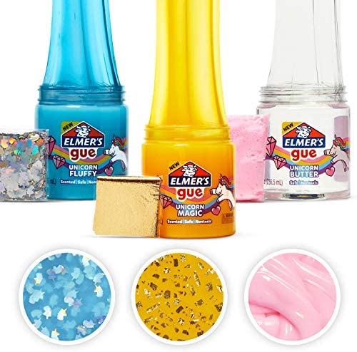 Elmer's Gue Premade Slime, Unicorn Dream Slime Kit, Includes Fun, Unique Add-Ins, Variety Pack, 3 Count