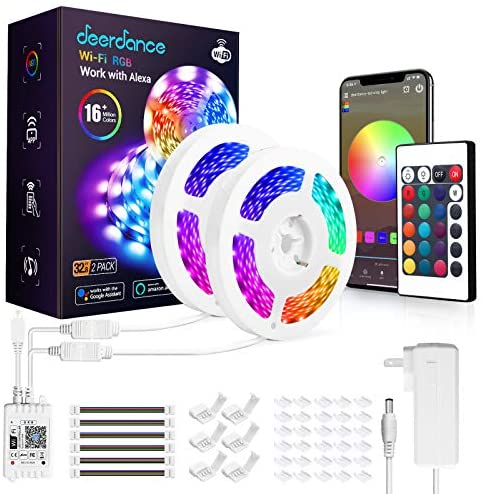 Deerdance Smart LED Strip Lights Works with Alexa Google Home Siri Shortcut WiFi LED Light Strips APP Control 16 Million Colors Music Sync 5050 RGB Light for Bedroom TV Kitchen Party Christmas, 32.8ft