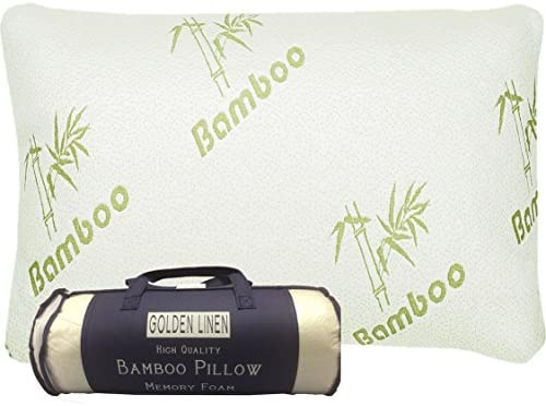 Bamboo Pillow Memory Foam – Stay Cool Removable Cover with Zipper – Hotel Quality Hypoallergenic Pillow Relieves Snoring,migraines, Insomnia, Neck Pain and Tmj, Also Help with Asthema (Queen)