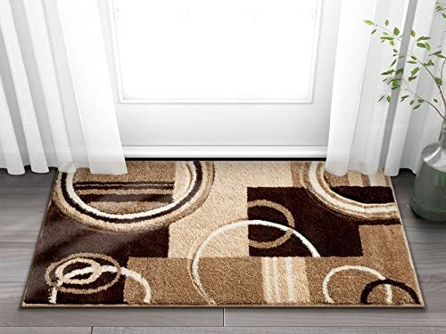 Echo Shapes Circles Ivory Beige Brown Modern Geometric Comfy Casual Hand Carved 2×3 (2′ x 3′) Area Rug Easy to Clean Stain Fade Resistant Abstract Contemporary Thick Soft Plush Living Dining Room Rug
