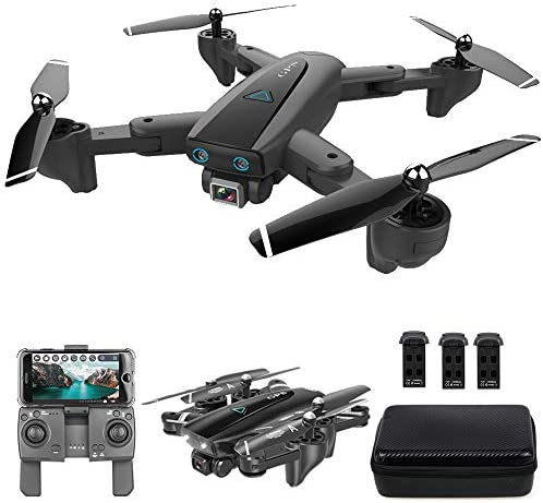 GoolRC CSJ S167 GPS Drone, 2.4G WiFi FPV RC Drone with Camera 4K HD Gesture Photos Video, Auto Return Home, Altitude Hold, Follow Me RC Quadcopter for Adults with 3 Batteries and Handbag