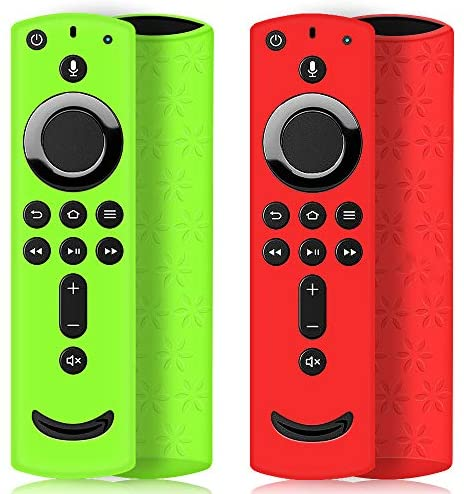 2 Pack Remote Case/Cover for Fire TV Stick 4K,Protective Silicone Holder Lightweight Anti Slip Shockproof for Fire TV Cube/3rd Gen All-New 2nd Gen Alexa Voice Remote Control-Green,Red