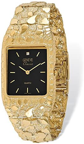 14k Yellow Gold Men's Squared Black 27x47mm Dial Nugget Watch 8″