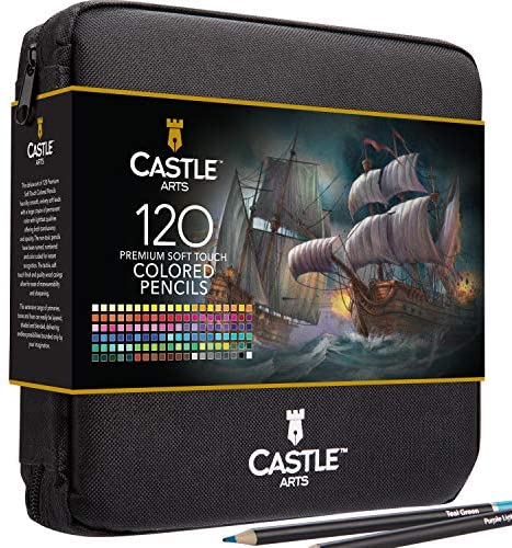 Castle Art Supplies 120 Colored Pencils Zip-Up Set perfect for Adults Artists   Smooth color cores and coloring pencils for blending & layering in a strong travel case