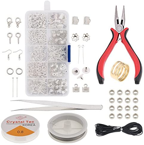 Jewelry Making Supplies Jewelry Making Kit Jewelry Repair Pliers Tools with Jewelry Findings Kit .Beading Cord Jump Rings and Lobster Clasps, Beads for Jewelry Making