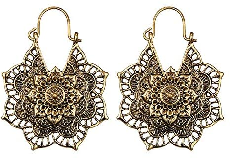 Infgreate-Fashion and Creative Halloween Jewelry for women, Bohemian Women Hollow Flower Honeycomb Filigree Hoop Earrings Retro Jewelry Gift