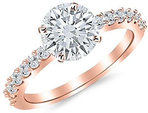 3.5 Ctw Round Classic Side Stone Prong Set 14K Rose Gold Diamond Engagement Ring (H-I Color I1 Clarity 3 Ct Center)