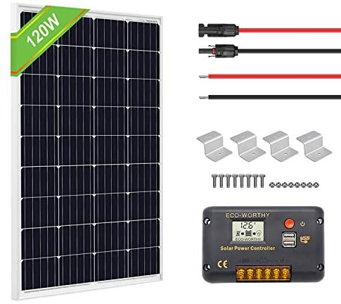 ECO-WORTHY 120 Watts 12 Volts Solar Starter Kit: 120W Monocrystalline Solar Panel + 20A PWM Charge Controller + Z Brackets + 16ft Solar Cable with Connector