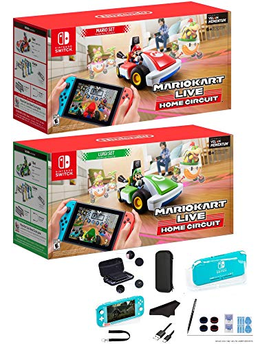 Newest Nintendo Mario Kart Live: Home Circuit – Mario Set and Luigi Set Edition – Family Holiday Gaming for Nintendo Switch or Switch Lite + GalliumPi 10-in-1 Accessory Bundle for Nintendo Switch Lite