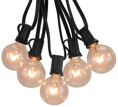 Outdoor String Lights 50FT, Patio Globe String Lights with Clear Bulbs E12 Socket Base for Indoor/Outdoor Commercial UL Listed Fences Patio Porch Backyard Deck Bistro Balcony Wedding Decor, Black