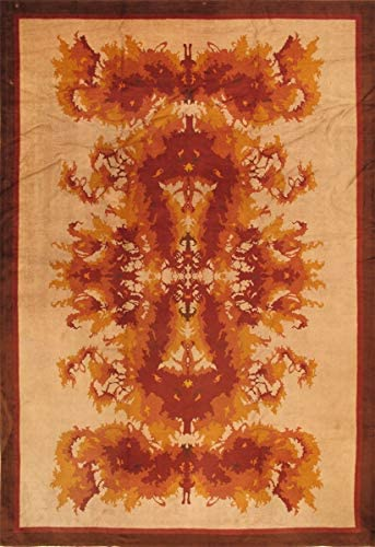 Pasargad Home Antique Art Deco Collection Hand-Knotted Lamb's Wool Area Rug-11′ 6″ X 16′ 6″