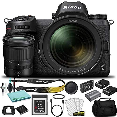 Nikon Z 6 Mirrorless Digital Camera with 24-70mm Lens FX-Format 1598 – Kit with 64GB G Series XQD Memory Card + Extra Battery + More