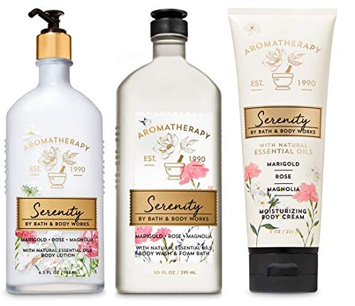 Bath and Body Works Aromatherapy Serenity MARIGOLD ROSE MAGNOLIA Trio Gift Set – Body Lotion 6.5 oz, Shower Gel Foam Bath 10 oz and Body Cream 8 oz