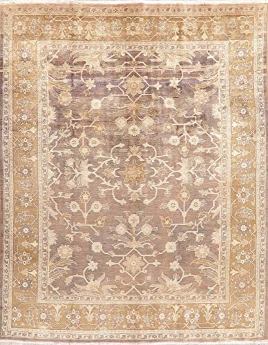"""Blowout Vegetable Dye Antique Look Sarouk Area Rug Hand-Knotted Oriental Dining Room Carpet 8×11 (8′ 5"""" x 10′ 9"""")"""