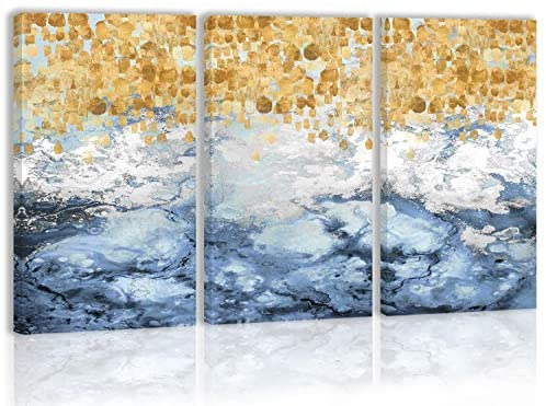 Golden Blue Modern Abstract Wall Art Decor Canvas Painting Kitchen Prints Pictures for Home Living Dining Room