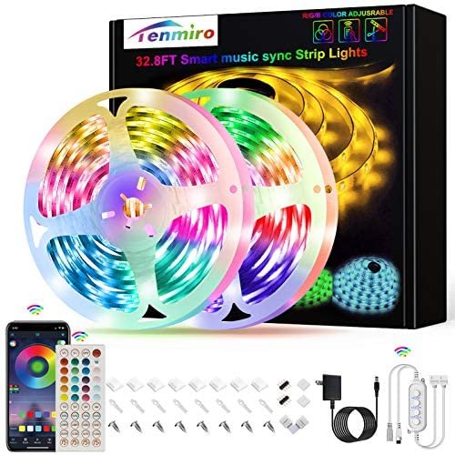 Tenmiro Led Strip Lights, 32.8ft Music Sync Color Changing Smart Led Lights Bedroom, App Control and Remote LED Lights for Room Party Home Decoration