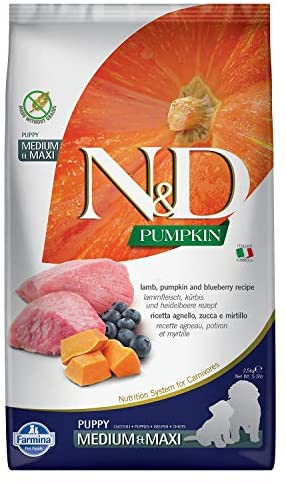 Farmina N&D Dog Dry Puppy Grain-Free Pumpkin Medium/Maxi Lamb & Blueberry 5.5 Pounds