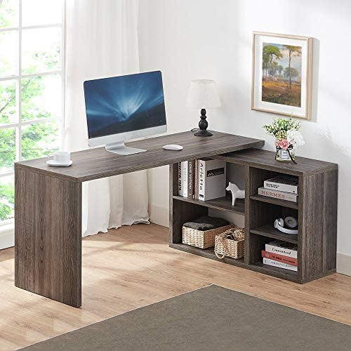HSH L Shaped Computer Desk, Rustic Wood Corner Desk, Industrial Writing Workstation Table with Cabinet Drawer Storage for Home Office Study, Grey 60 inch