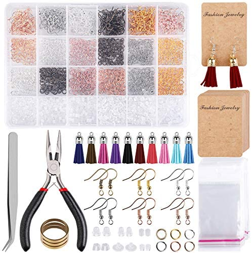 Elcoho 2123 Pack Earring Making Supplies Kit Jewelry Making Supplies with Fish Hook Earrings, Earring Cards, Jewelry Plier, Earring Backs and Jump Ring for Earrings Making and Repairing