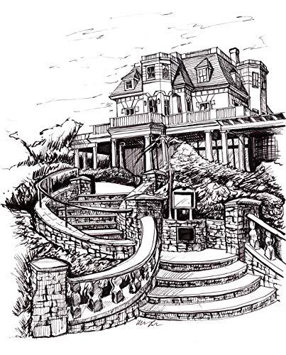 The Chanler, Pen and ink drawing, 8×10 print, archival, mansion on the Cliff Walk in Newport, RI, black and white print