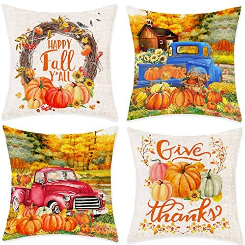"Bonsai Tree Fall Pillow Covers, Happy Fall Yall Autumn Pumpkin Leaves Couch Throw Pillow Covers 18""x18"", Thanksgiving Red Blue Truck Harvest Cotton Linen Pillow Cases Home Decor for Sofa Set of 4"