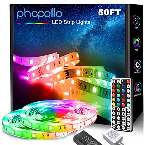 Phopollo LED Strip Lights, 50ft 5050 Flexible LED Lights with 44 Key IR Remote Controller and 12V Power Supply for Bedroom