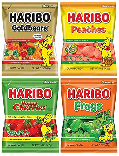 Haribo Gummy Gummies Candy Assorted Variety, Pack of 4