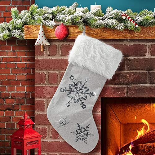 S-DEAL Burlap Christmas Stockings 20.5Inch with White Plush Cuff Embroidery Sequin and Silver Thread Gift Holders for Holiday Xmas Party Decorations (Silver)