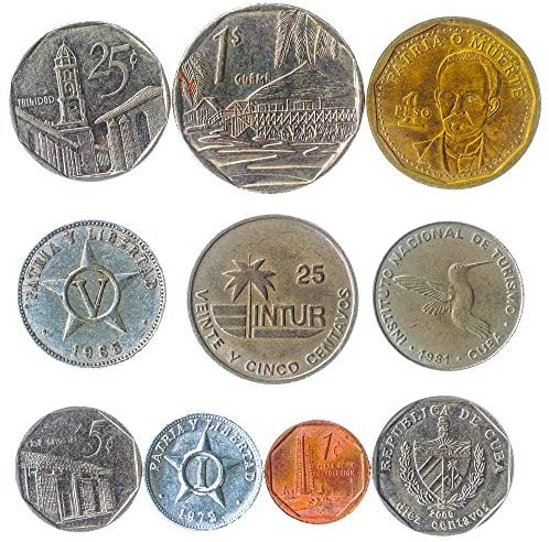 10 Circulated Coins from Cuba. Old Collectible Coins Caribbean Island Cuban Centavos, Pesos. Perfect Choice for Your Coin Bank, Coin Holders and Coin Album