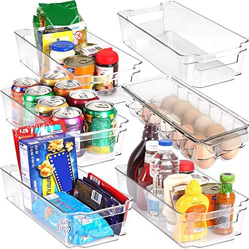 Set of 6 Pantry Organizers-Includes 6 Organizers (5 Drawers & 1 Egg Holding Tray)-Organizers for Freezers, Countertops and Cabinets-BPA Clear Plastic Pantry Storage Racks