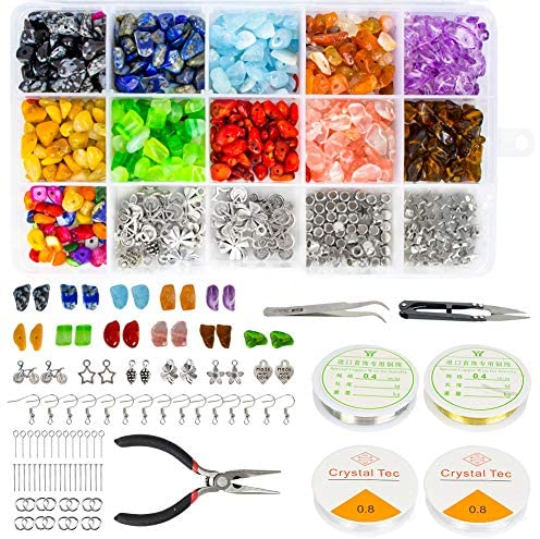 Faluckyy 1047 Pcs Crystal Chip Beads and Jewelry Making Gemstones Kit for Jewelry Earring Necklace and Bracelets Making Supplies