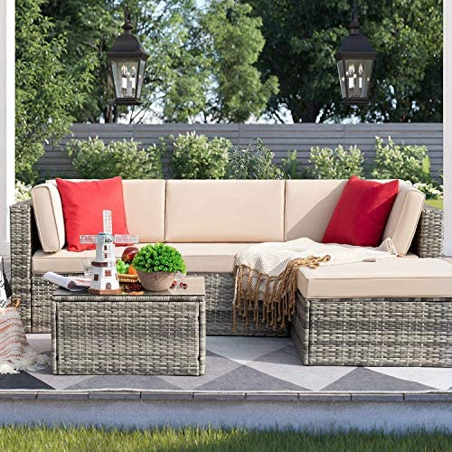 Devoko 5 Pieces Patio Furniture Sets All-Weather Outdoor Sectional Sofa Manual Weaving Wicker Rattan Patio Conversation Set with Cushion and Glass Table (Grey)