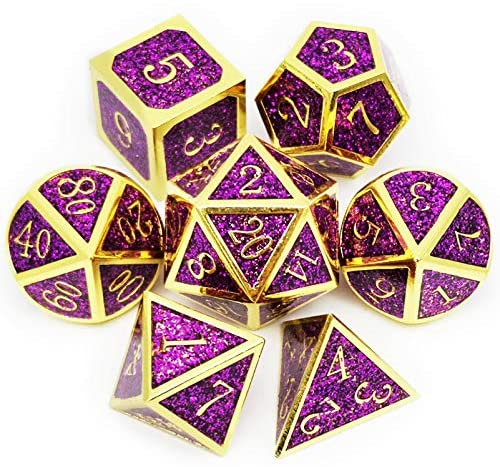 Haxtec Metal Glitter Dice Set D&D Gold Purple Metal DND Dice for Dungeons and Dragons RPG Games
