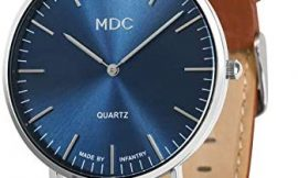 MDC Mens Brown Genuine Leather Watch Unisex 40mm Ultra Thin Minimalist Wrist Watches for Men Dress Formal Casual Deep Blue