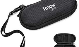 Knox Gear Hardshell case for Digital Voice Recorders (Sony, Olympus), MP3 Players, USB/Audio Cables, Wireless Earbuds, Wireless Presenters (Black) – 3 Pockets and 2 Elastic Bands to Secure Contents