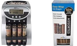 Royal Sovereign 2 Row Electric Coin Counter With Patented Anti-Jam Technology and Digital Counting Display & Preformed Coin Wrappers. 504 Assortment Pack, Penny, Nickel, Dime