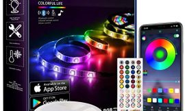 QJB Led Strip Lights Bluetooth – 65.6Ft RGB 5050 Led Music Sync Color Changing Lights, App Controlled – for Bedroom