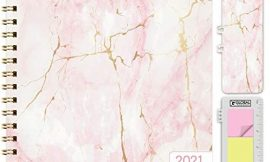 HARDCOVER 2021 Planner: (November 2020 Through December 2021) 8.5″x11″ Daily Weekly Monthly Planner Yearly Agenda. Bookmark, Pocket Folder and Sticky Note Set (Pink Marble)