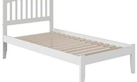 Atlantic Furniture Mission Platform Bed with Open Foot Board, Twin XL, White