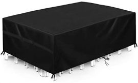 """king do way Outdoor Patio Furniture Covers, 246x162x102cm 600D Oxford Polyester Extra Large Size Furniture Set Covers Fits to 8-10Seat Black 96""""x64""""x40"""""""