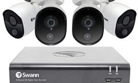 Swann 8 Channel 4 Camera Security System, Wired Surveillance 1080p Full HD DVR 1TB HDD, Indoor/Outdoor, Heat & Motion Detection + Night Vision, Pairs with Google Assistant + Alexa, SWDVK-845804V
