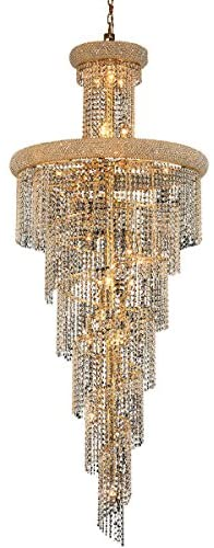 Elegant Lighting Value Spiral Collection Chandelier D:30in H:72in Lt:28 Gold Finish (Swarovski Elements Crystals) Gold
