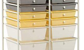 Giantex 12 Drawer Rolling Storage Cart Tools Scrapbook Paper Office School Organizer (Yellow)