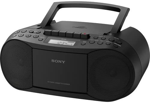 Sony Portable Digital Tuner AM/FM Radio Cd Player Mega Bass Reflex Stereo Sound System Plus 6ft Cube Cable Aux Cable to Connect Any iPod, iPhone or Mp3 Digital Audio Player