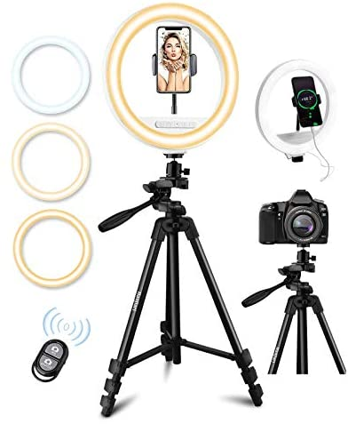 10″ LED Selfie Ring Light with Tripod Stand & Cell Phone Holder for Live Stream/Makeup/YouTube Video, Haojiari Upgraded Ringlight with Touchpad Compatible for iPhone Android Phones Cameras