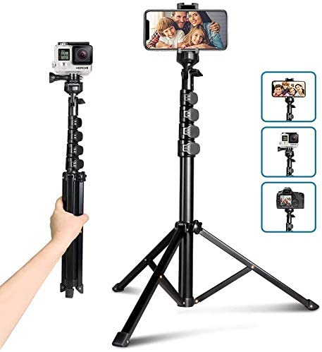 62″ Phone Tripod Accessory Kits, Aureday Camera & Cell Phone Tripod Stand with Bluetooth Remote and Universal Tripod Head Mount, Perfect for Selfies/Video Recording/Vlogging/Live Streaming