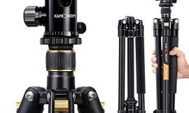 """K&F Concept 62"""" DSLR Tripod, Lightweight and Compact Aluminum Camera Tripod with 360 Panorama Ball Head Quick Release Plate for Travel and Work (TM2324 Black)"""