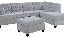 Casa Andrea Milano LLC 3 Piece Modern Tufted Micro Suede L Shaped Sectional Sofa Couch with Reversible Chaise & Ottoman, Ash