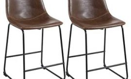 Phoenix Home Lotusville Vintage PU Leather, Set of 2 Counter Height Stool, Brown
