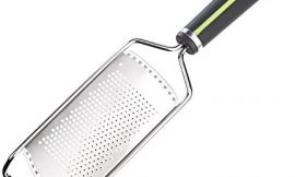 Amazon Basics Hand Zester and Grater with Wide Stainless Steel Blade, Soft Grip Handle, Grey and Green